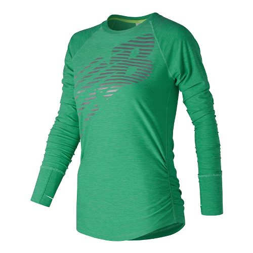 Womens New Balance Viz Long Sleeve Technical Tops - Vivid Jade Heather L