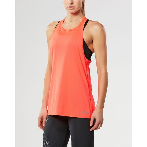 Womens 2XU X-LITE Singlet Sleeveless & Tank Tops Technical Tops - Fiery Coral/Gold M