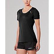 Womens 2XU X-LITE Tee Short Sleeve Technical Tops - Black/Gold S