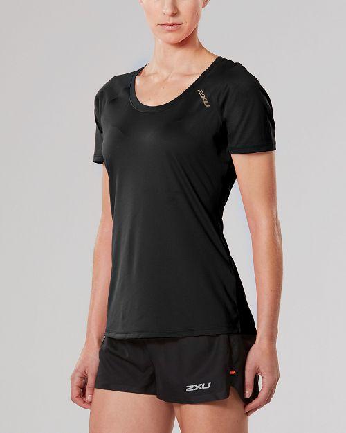 Womens 2XU X-LITE Tee Short Sleeve Technical Tops - Black/Gold L