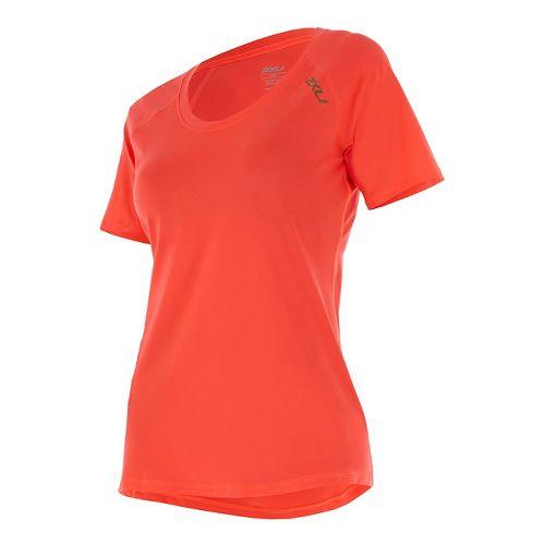 Womens 2XU X-LITE Tee Short Sleeve Technical Tops - Fiery Coral/Gold S