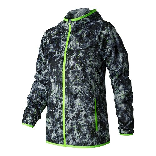 Womens New Balance Windcheater Printed Cold Weather Jackets - White Tie Dye Floral L