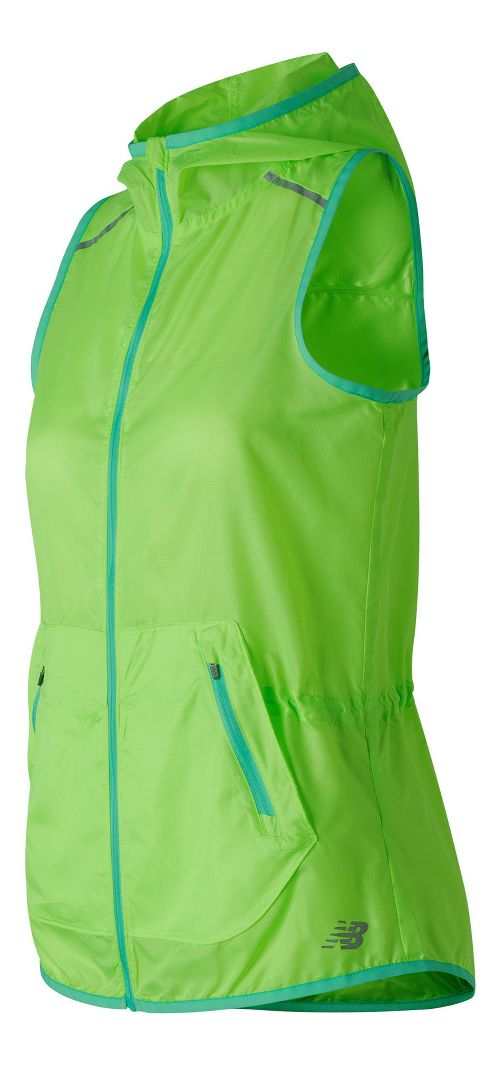 Womens New Balance Windcheater Vests Jackets - Lime Glow S