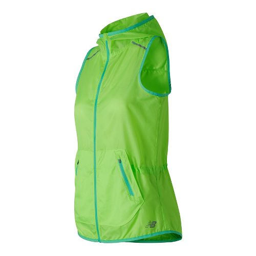 Womens New Balance Windcheater Vests Jackets - Lime Glow M