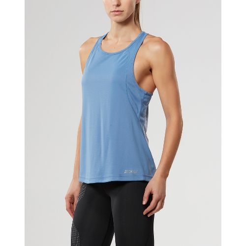 Womens 2XU X-VENT Racerback Singlet Sleeveless & Tank Tops Technical Tops - Colony Blue/Silver ...