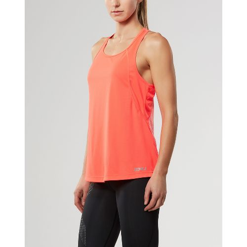Womens 2XU X-VENT Racerback Singlet Sleeveless & Tank Tops Technical Tops - Fiery Coral/Silver ...