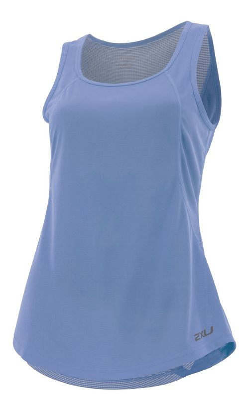 Womens 2XU X-VENT Sleeveless & Tank Tops Technical Tops - Colony Blue/Silver M