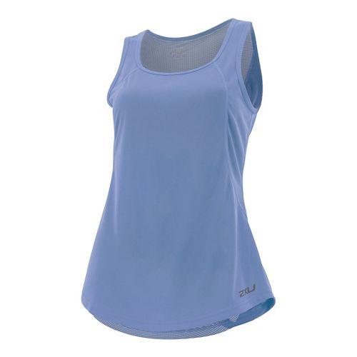 Womens 2XU X-VENT Sleeveless & Tank Tops Technical Tops - Colony Blue/Silver M