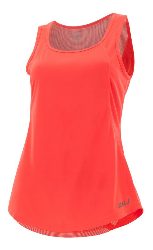 Womens 2XU X-VENT Sleeveless & Tank Tops Technical Tops - Fiery Coral/Silver XS