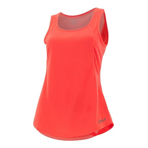 Womens 2XU X-VENT Sleeveless & Tank Tops Technical Tops - Fiery Coral/Silver M