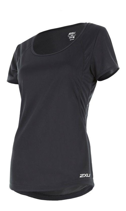 Womens 2XU X-VENT Tee Short Sleeve Technical Tops - Black/Silver XS