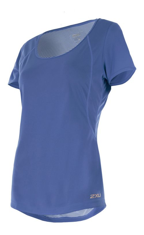 Womens 2XU X-VENT Tee Short Sleeve Technical Tops - Colony Blue/Silver S