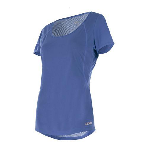 Womens 2XU X-VENT Tee Short Sleeve Technical Tops - Colony Blue/Silver XS