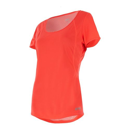Womens 2XU X-VENT Tee Short Sleeve Technical Tops - Fiery Coral/Silver XS