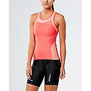 Womens 2XU X-VENT Tri Singlet Sleeveless & Tank Tops Technical Tops - Coral/Desert Flower XL