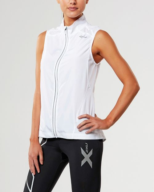 Womens 2XU X-VENT Vests Jackets - White/White XS