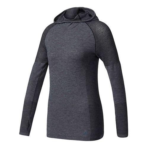 Womens Adidas Primeknit Wool Long-Sleeve Hooded Tee Technical Tops - Black L