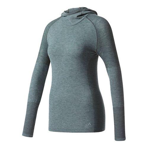 Womens Adidas Primeknit Wool Long-Sleeve Hooded Tee Technical Tops - Utility Ivy L