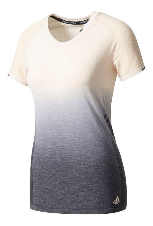 Womens Adidas Primeknit Wool Tee - Dip Dye Short Sleeve Technical Tops - Linen/Black XL
