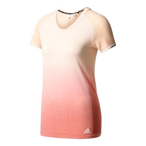 Womens Adidas Primeknit Wool Tee - Dip Dye Short Sleeve Technical Tops - Linen/Coral L ...