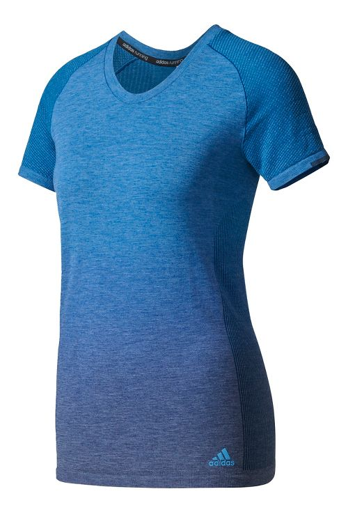 Womens Adidas Primeknit Wool Tee - Dip Dye Short Sleeve Technical Tops - Mystery Blue L