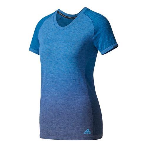 Womens Adidas Primeknit Wool Tee - Dip Dye Short Sleeve Technical Tops - Mystery Blue M