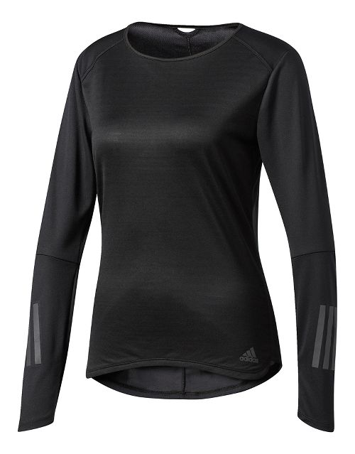 Womens adidas Response Tee Long Sleeve Technical Tops - Black L