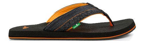 Mens Sanuk Beer Cozy 2 Mesh Sandals Shoe - Black/Orange 8