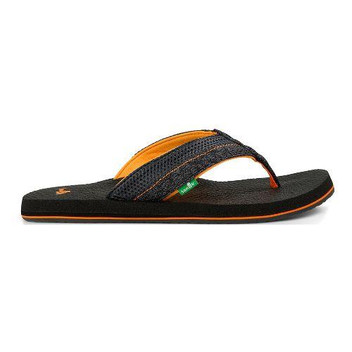Mens Sanuk Beer Cozy 2 Mesh Sandals Shoe - Black/Orange 11