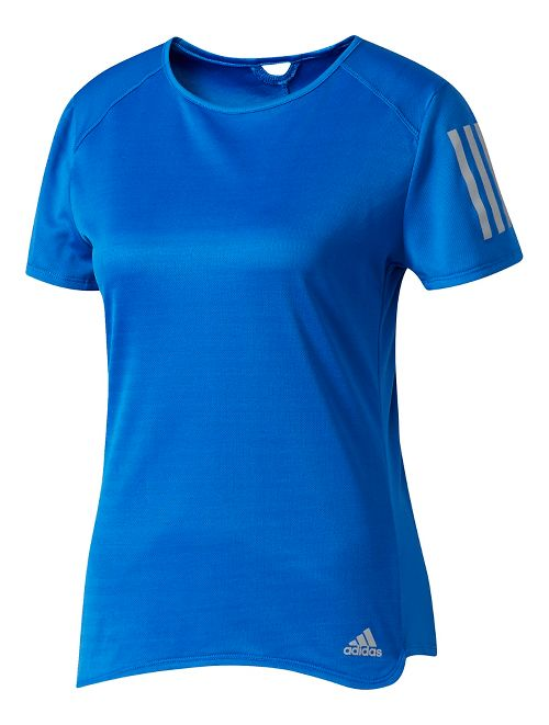 Womens Adidas Response Tee Short Sleeve Technical Tops - Blue L