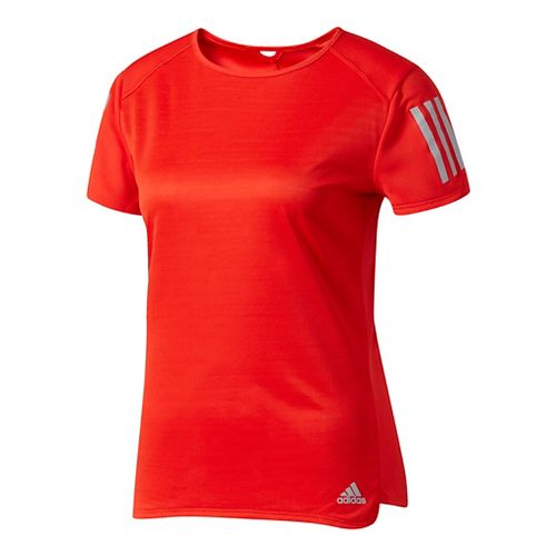 Womens Adidas Response Tee Short Sleeve Technical Tops - Core Red L