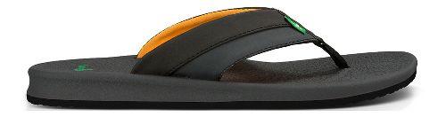 Mens Sanuk Brumeister Sandals Shoe - Black/Orange 9