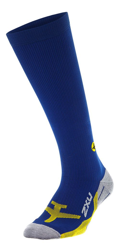 Mens 2XU Flight Compression Socks Injury Recovery - Navy/Yellow XL