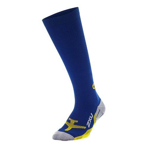 Mens 2XU Flight Compression Socks Injury Recovery - Navy/Yellow L
