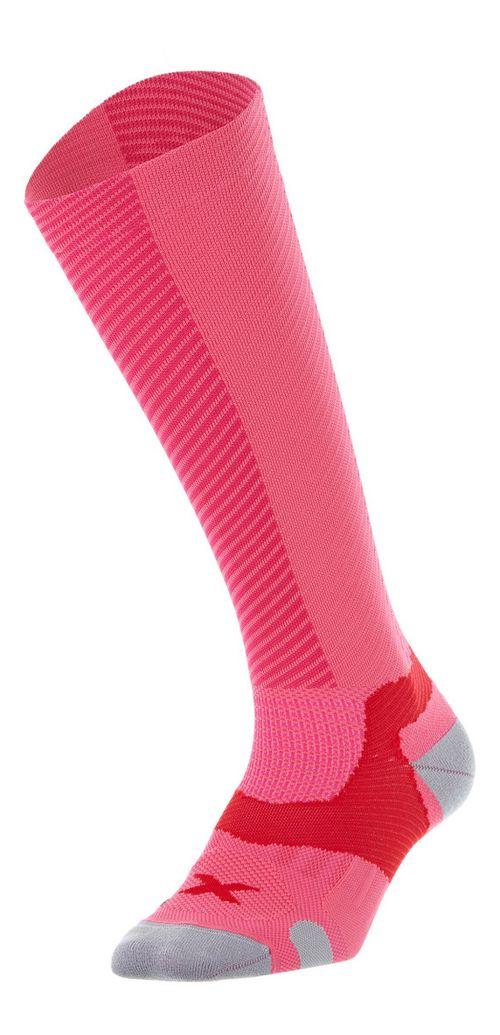 Womens 2XU Elite X: Lock Compression Socks Injury Recovery - Fandango Pink L