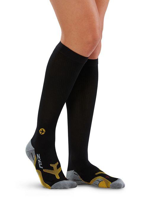 Womens 2XU Flight Compression Socks Injury Recovery - Black/Yellow S