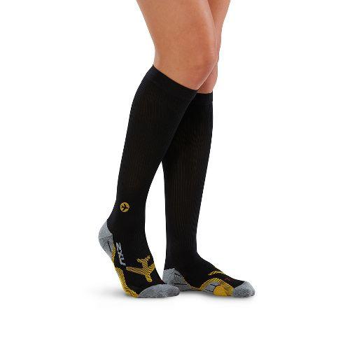 Womens 2XU Flight Compression Socks Injury Recovery - Black/Yellow L