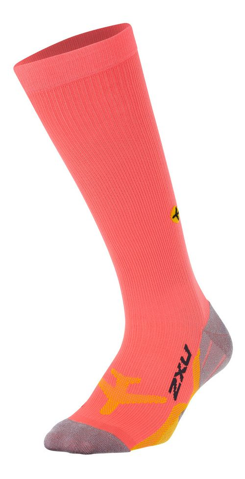 Womens 2XU Flight Compression Socks Injury Recovery - Fiery Coral/Yellow M