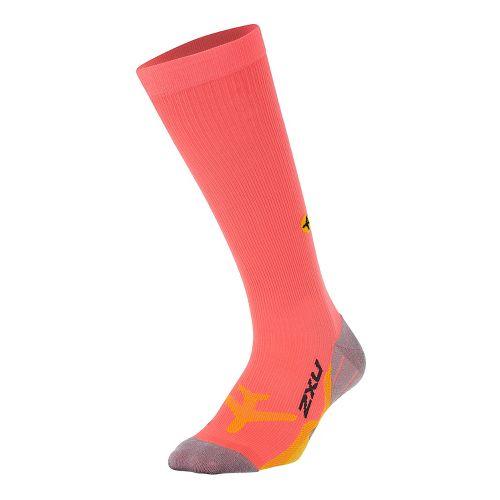 Womens 2XU Flight Compression Socks Injury Recovery - Fiery Coral/Yellow L