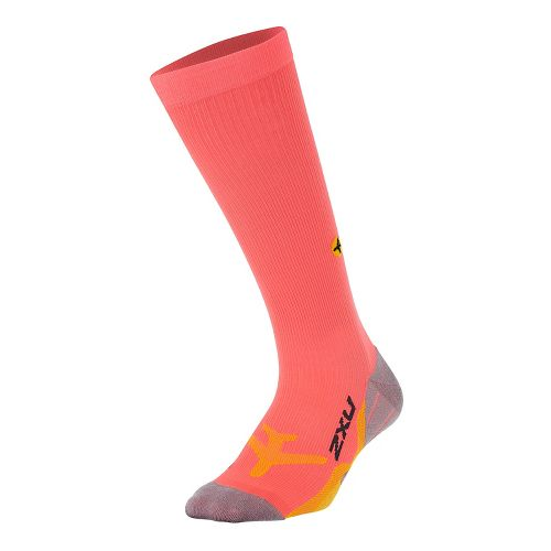Womens 2XU Flight Compression Socks Injury Recovery - Fiery Coral/Yellow S