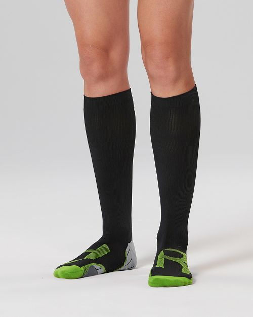 Womens 2XU Compression Socks for Injury Recovery - Black/Grey XS