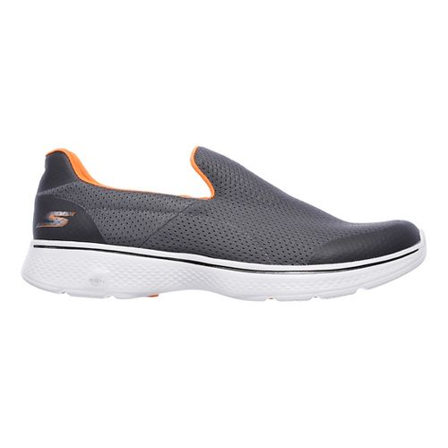 Mens Skechers GO Walk 4 Incredible Casual Shoe - Charcoal/Orange 12