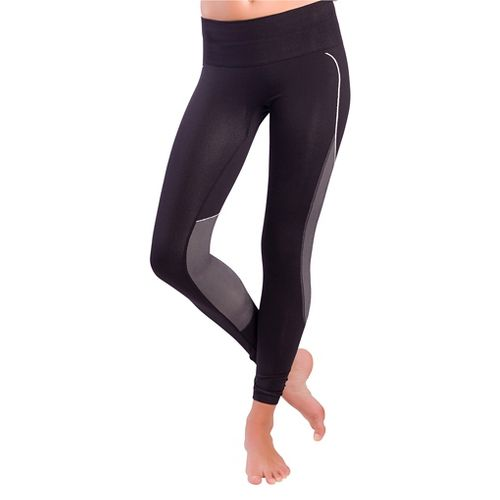 Womens Zensah Energy Compression Tights - Black/Neon Pink L