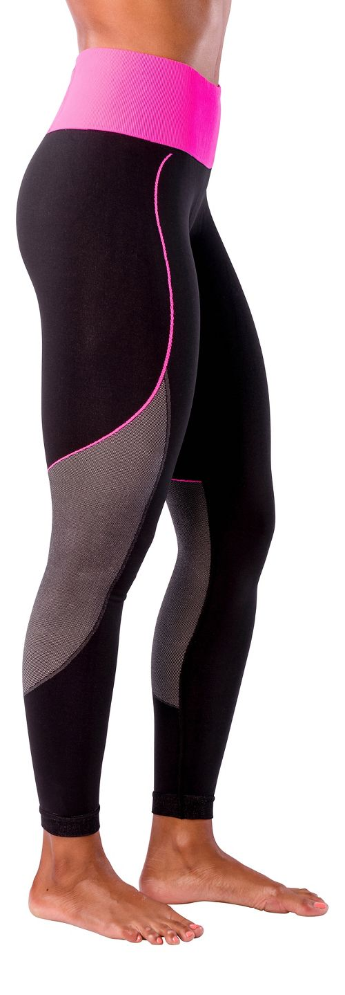Womens Zensah Energy Compression Tights - Black/Neon Pink S