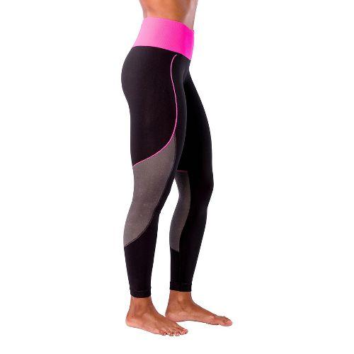 Womens Zensah Energy Compression Tights - Black/Neon Pink L