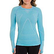 Womens Zensah Run Seamless Long Sleeve Technical Tops - Heather Aqua M