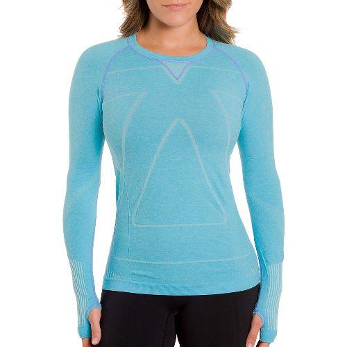 Womens Zensah Run Seamless Long Sleeve Technical Tops - Heather Aqua M