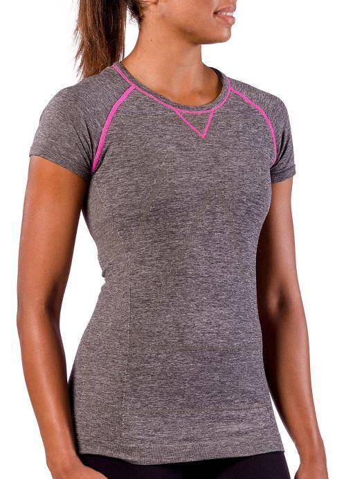Womens Zensah Run Seamless Short Sleeve Technical Tops - Heather Grey L