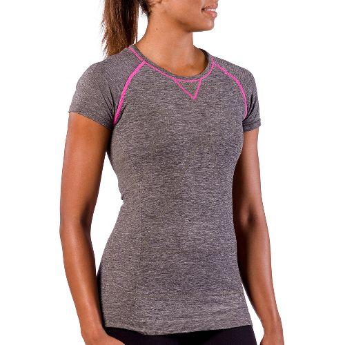 Womens Zensah Run Seamless Short Sleeve Technical Tops - Heather Grey S