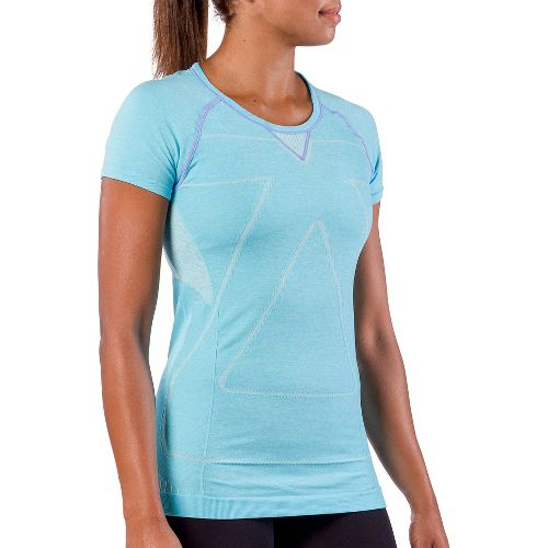 Womens Zensah Run Seamless Short Sleeve Technical Tops - Heather Aqua M